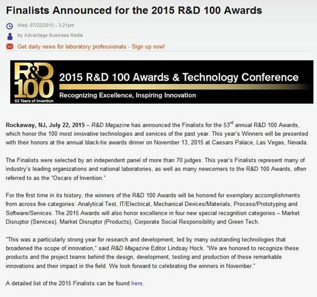 2015 R&D 100 Awards & Technology Conference(點擊可瀏覽原圖..)
